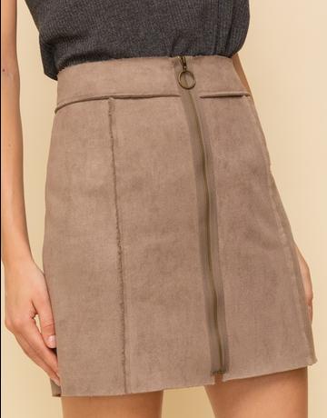 Fleece Lined Suede Zippered Skirt