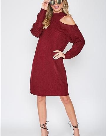 Cutoff Neck Sweater Dress