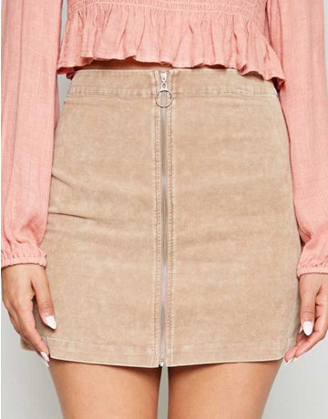 Washed Cord Zipper Front Mini Skirt
