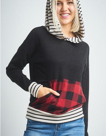 Solid Striped Checkered Hoodie