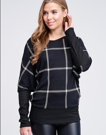 Dolman Sleeve Line Knit Top