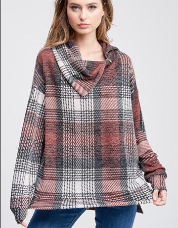 Cowl Neck Zipper Plaid Knit Sweater