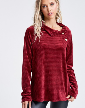 Solid Rib Knit Button Trim Velour Sweater