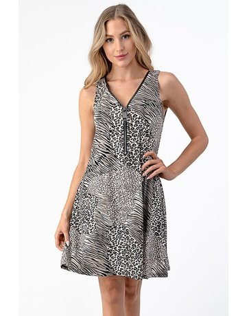 Printed Tank Big Zipper Dress