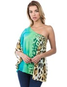 Printed One Shoulder Top With Lining
