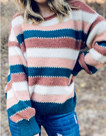 Multi Striped Pullover Sweater With Gold Thread