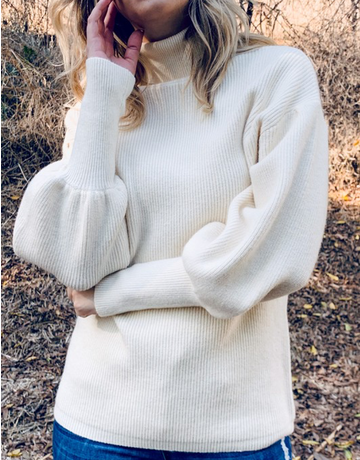 Turtle Neck Balloon Sleeve Sweater