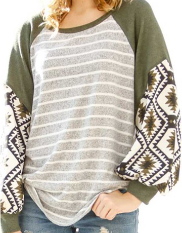 Tribal Print Striped Body Top