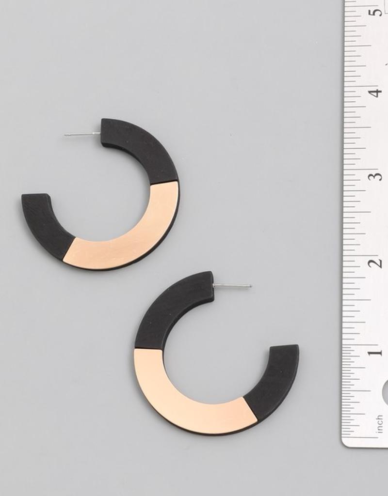 Wooden C Hoop Earrings