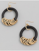 Wooden Hoop Drop Earrings
