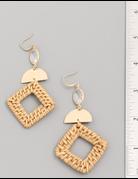 Rhombus Straw Drop Earrings