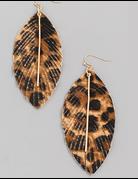 Animal Print Leaf Drop Earrings