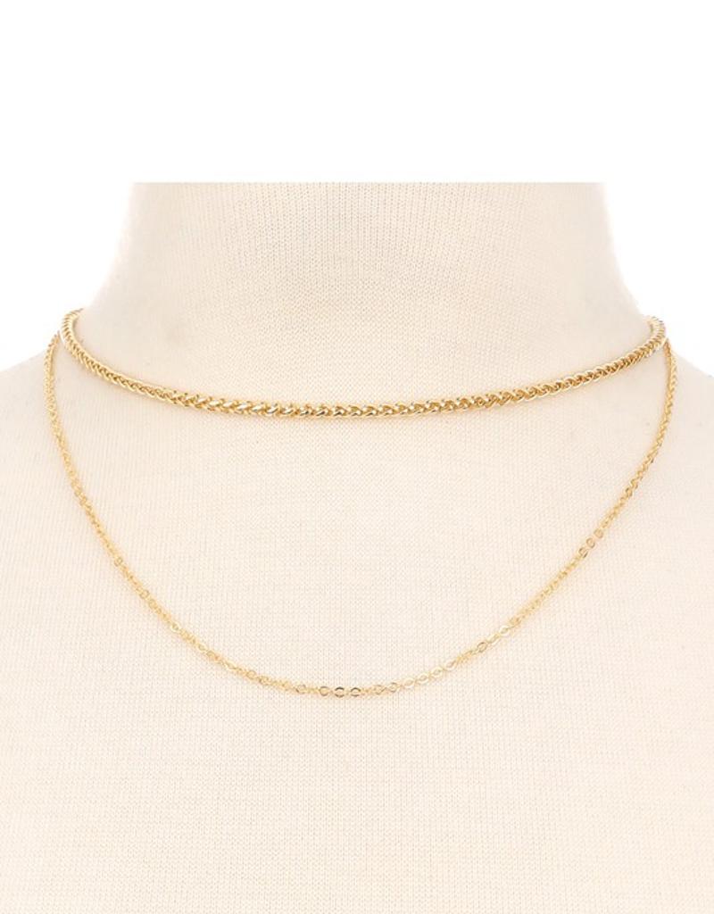 Layered Wheat Chain Choker Necklace