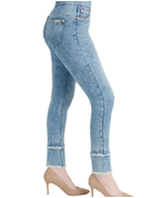 Luxe Denim Double Frayed Hem Ankle