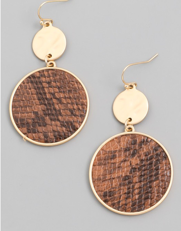 Animal Print Disc Drop Earrings