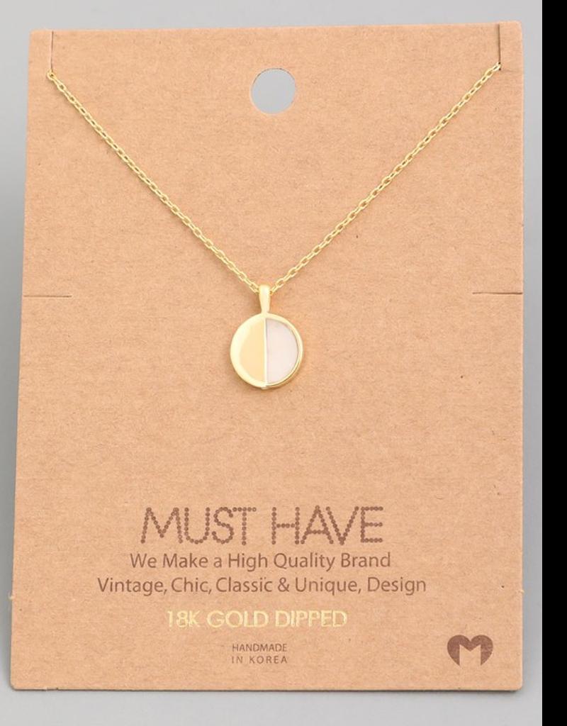 Circle Disc Pendant Necklace