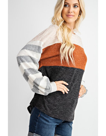 Colorblock Striped Sleeve Tunic