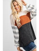 Colorblock Striped Sleeve Tunic