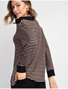 Striped French Terry Boat Neck Top