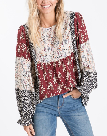 Floral Print Color Blocked Top