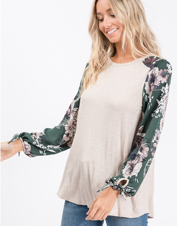 Puff Tie Sleeve Floral Top