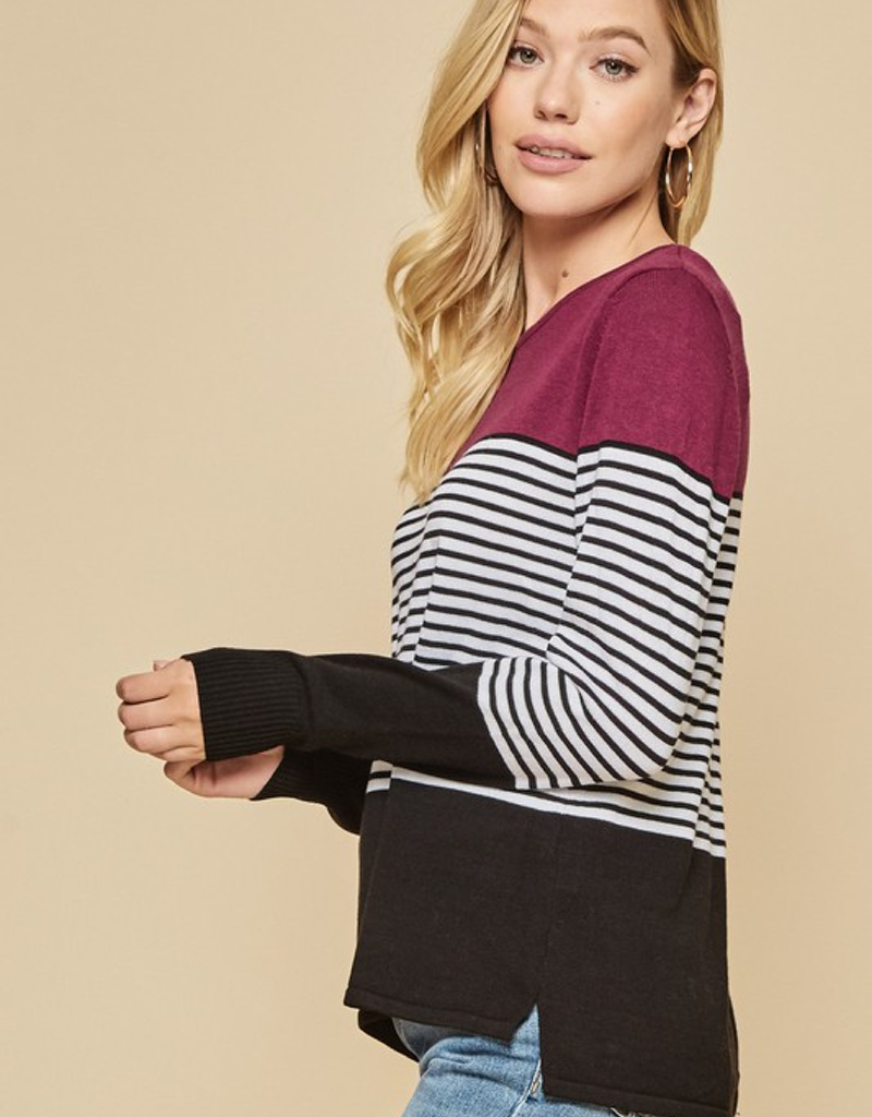 Solid Stripe Combo Sweater