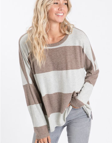 Wide Stripe Long Sleeve Top
