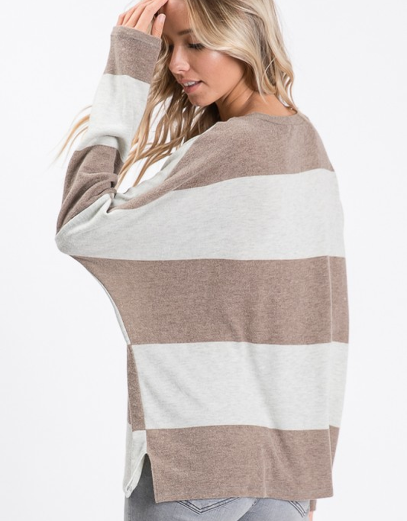 Wide Stripe Long Sleeve Top