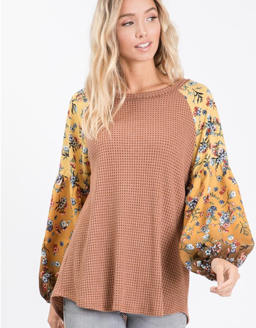 Printed Puff Sleeve Top
