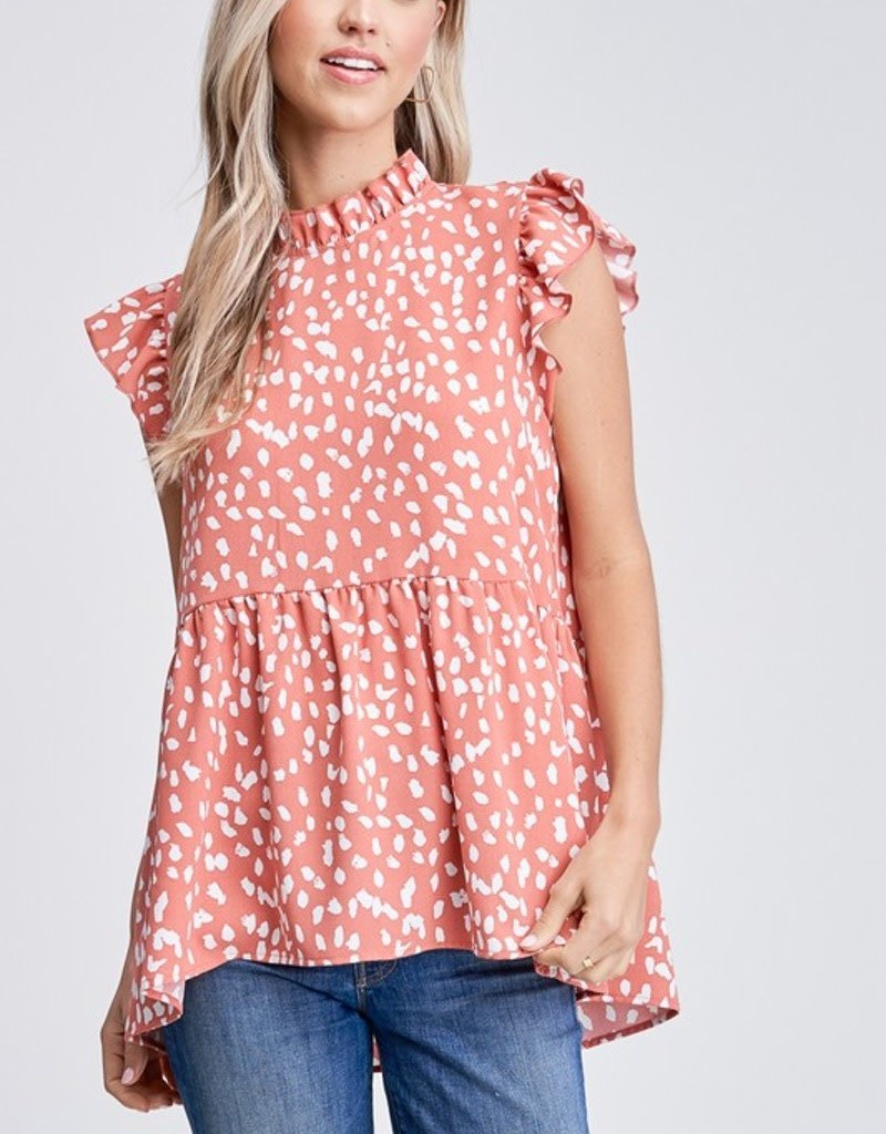 Ruffle Detail Sleeveless Spotted Woven Top