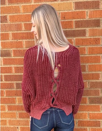 Open Back Pullover Sweater