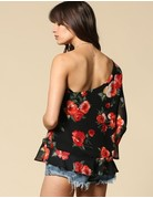 Rose Print One Shoulder Top
