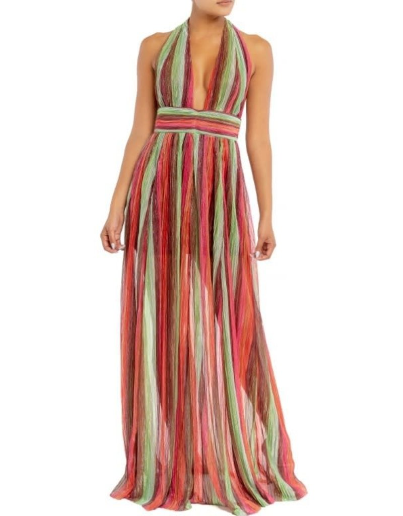 Rainbow Stripe Halter Dress