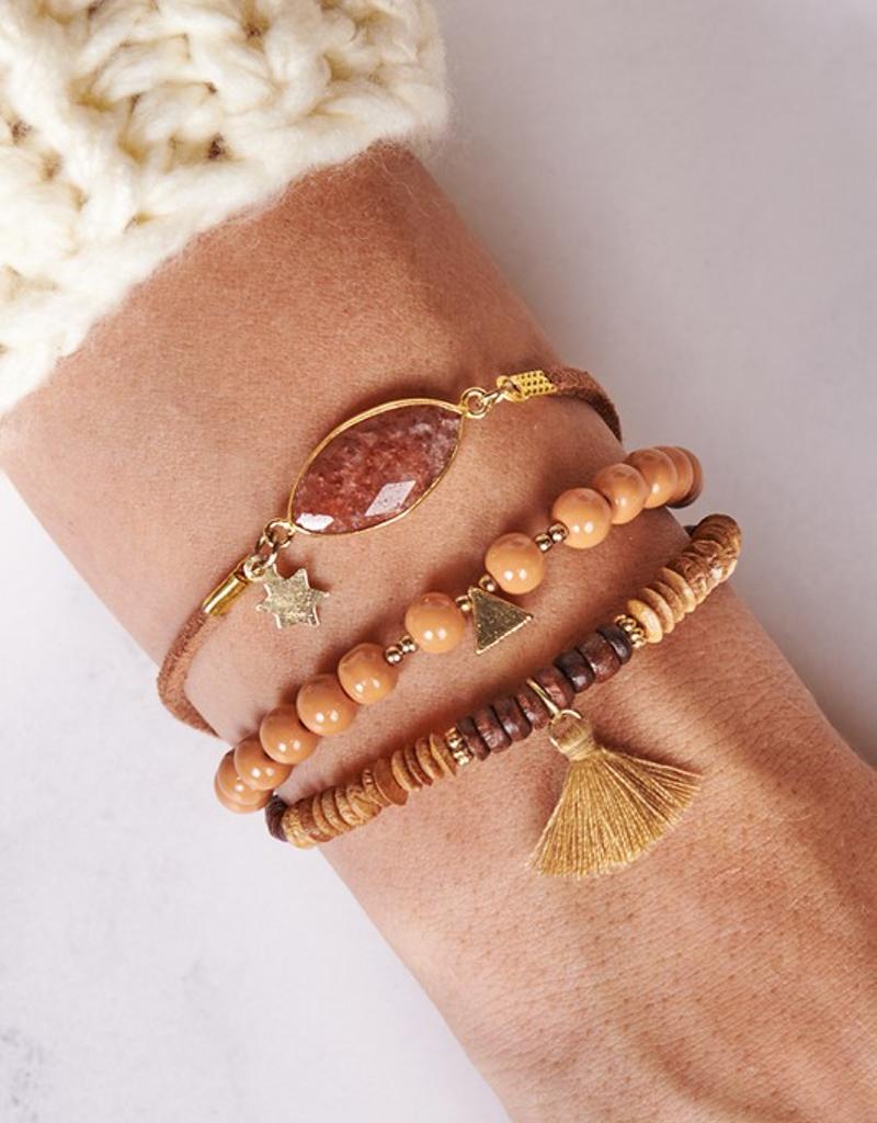 Stone & Tassel Detail Bracelet Set