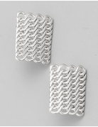 Square Link Chain Stud Earrings