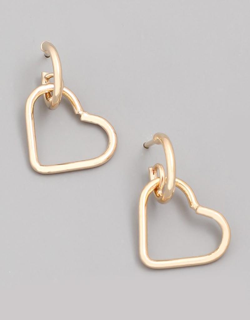 Small Heart Drop Earrings