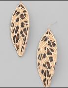Leopard Print Leaf Drop Earrings