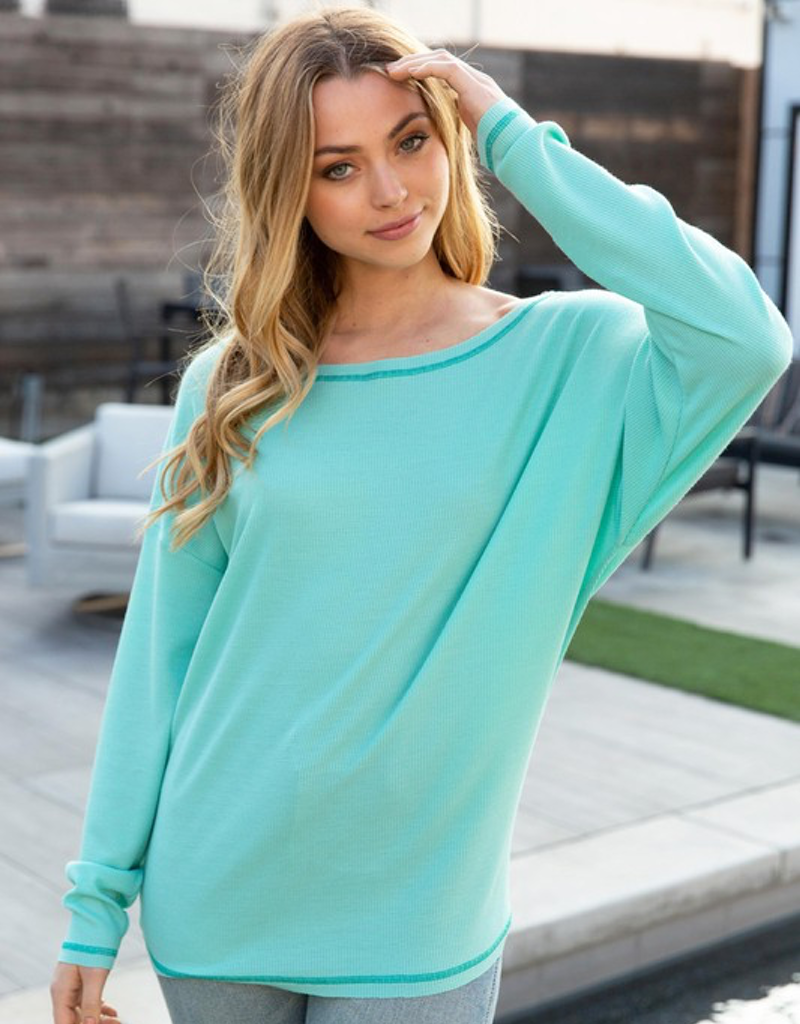 Long Sleeve Solid Waffle Knit Top