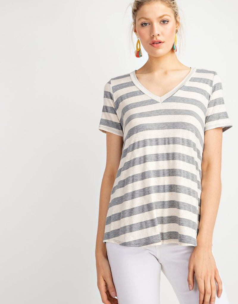 Linen V Neck Half Sleeve Top
