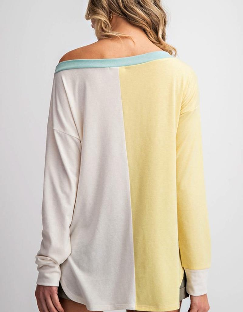 Wide Round Neck Color Block Top