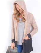 Color Block Cardigan With Hood And Pocket