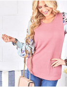 Waffle And Woven Floral Sleeve Top