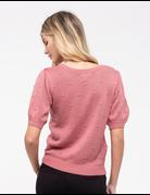Swiss Dot Puff Sleeve Knit Top