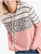 Thermal Waffle Hoodie With Stripes