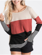 Thermal Waffle Colorblock Top