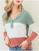 Waffle Colorblock Top With Buttons