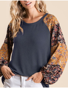 Waffle Top With Printed Floral Sleeve