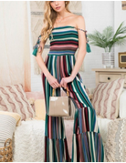 Bottom Ruffles Stripe Jumpsuit
