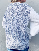 Floral Lace Printed Ruffle Balloon Sleeve Top