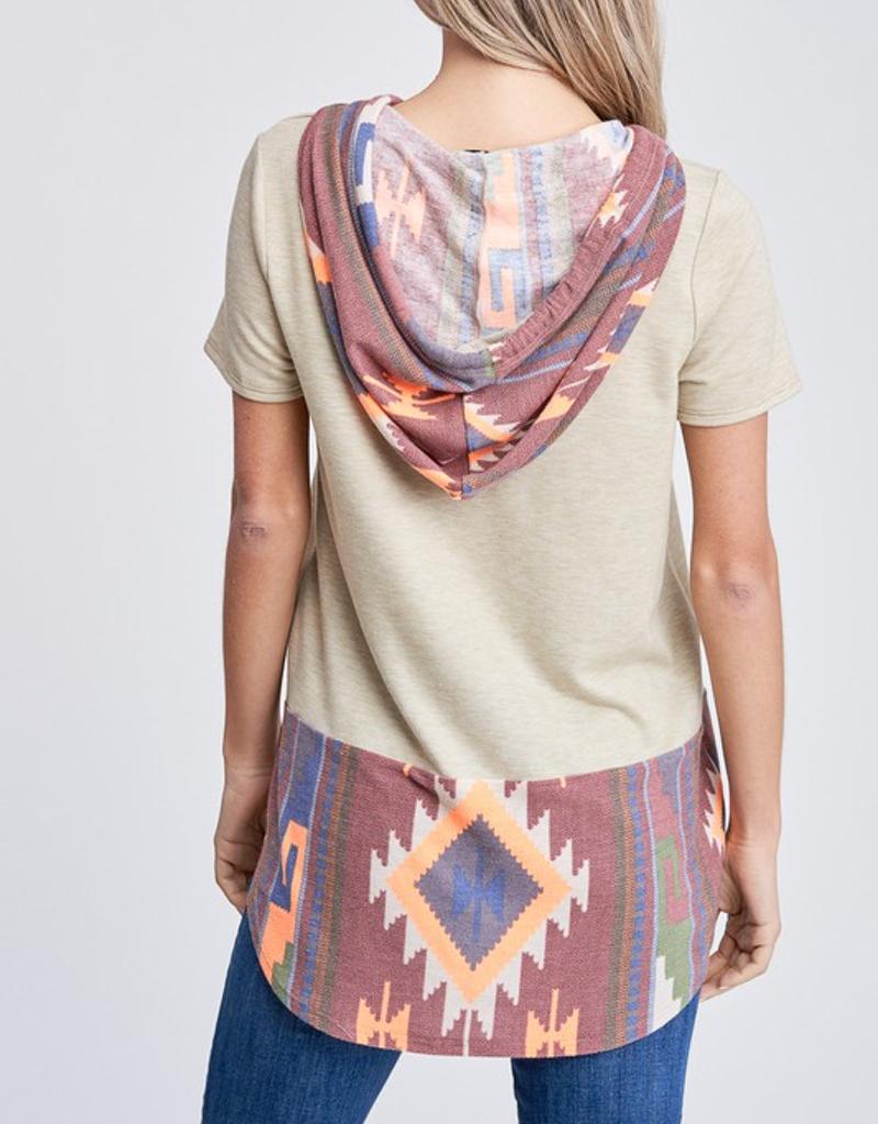 Aztec Print Short Sleeve Hoodie
